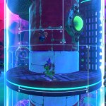 yooka and laylee inside of a see-through tower