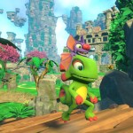 yooka and laylee running along a bridge