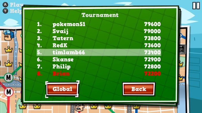 Tennis In The Face Tournament Leaderboards