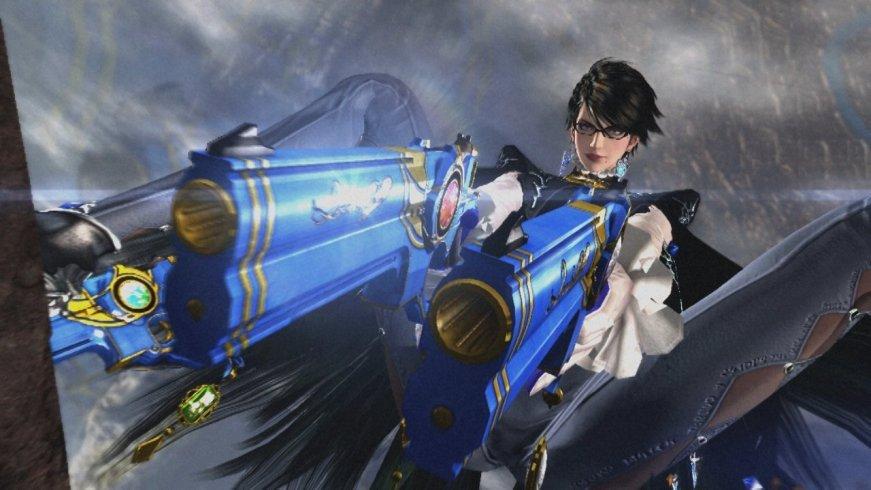 Bayonetta aiming gun