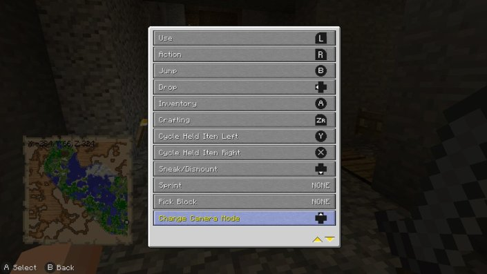 Minecraft Gamecube controller buttons