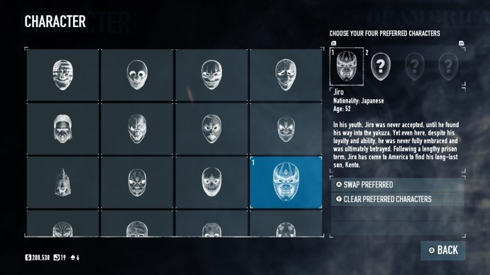 Payday 2 Mask Select screen