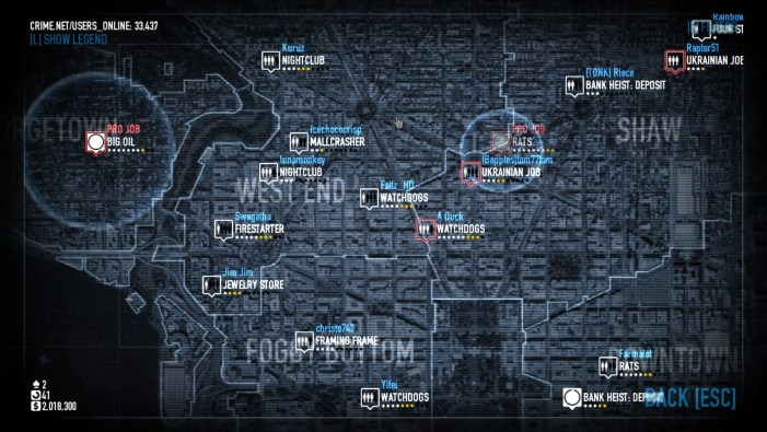 Payday 2 Mission Select Screen