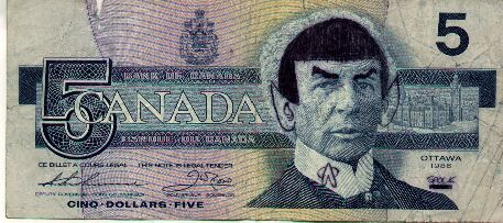 [Spock on the Canadian $5 bill]