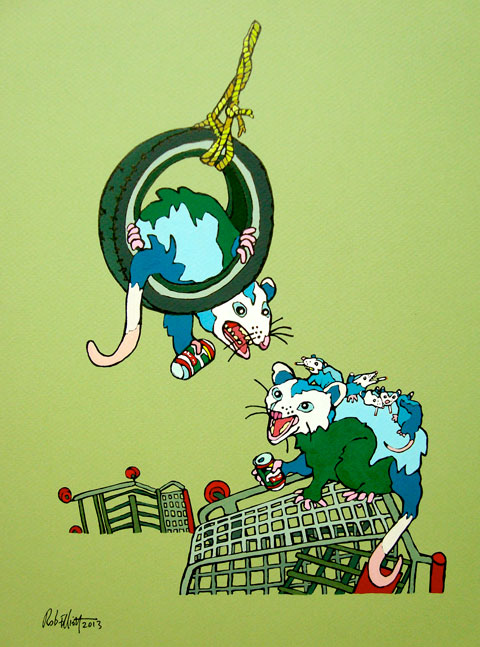 "Ravine Opossums, 12""x14"" (View large)"