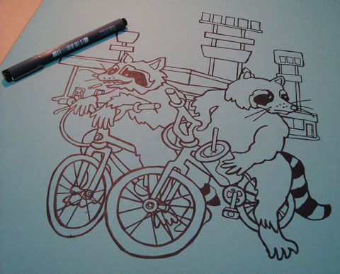 Gas Station Raccoon, outline completed on stretched Canson Mi-Teintes Paper.