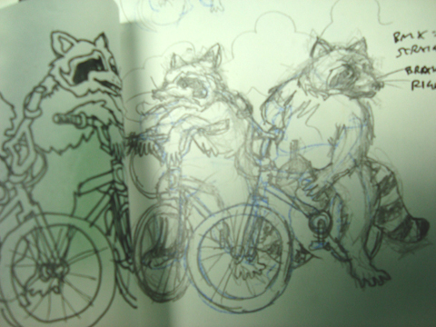 Gas Station Raccoons, pencil and ink tracing.