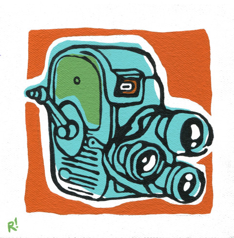 "8mm Movie Camera, 6""x6"", acrylic on canvas"