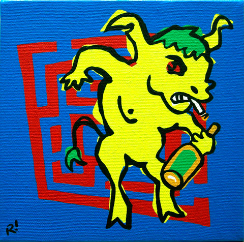 "Minotaur, 6""x6"", acrylic on canvas."