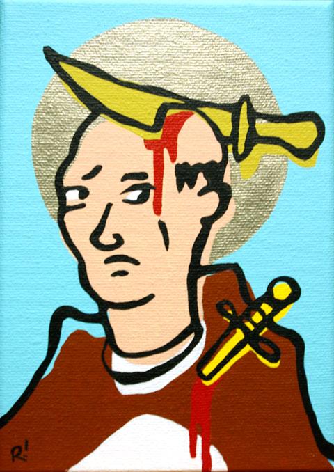 "St. Peter of Verona. Acrylic on canvas, 5'x7"""