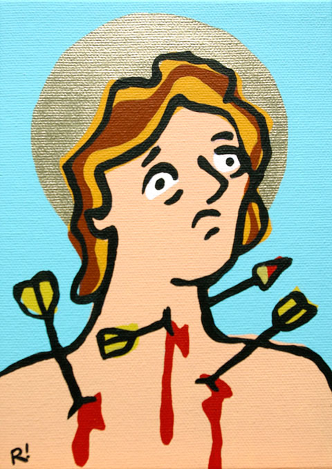 St. Sebastian. Acrylic on canvas, 5'x7""