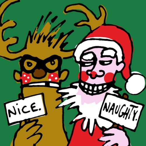 drawing of Skinny Santa and Reg the Rotten Reindeer