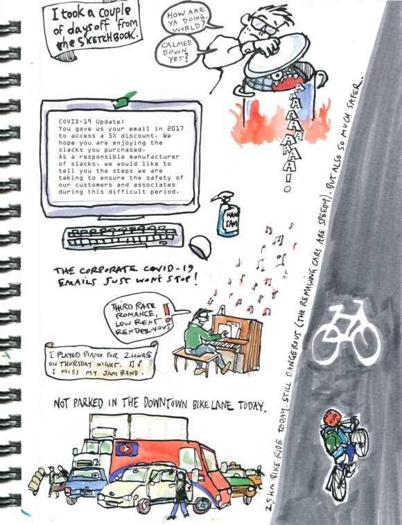 My Pandemic Diary page 11:bike lanes,covid-19 email,piano