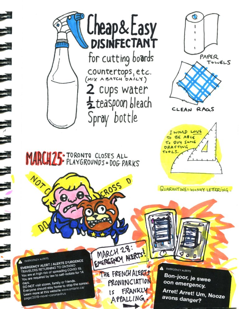 My Pandemic Diary page 19:disinfectant recipe,dog parks,playgrounds,emergency alert,drafting tools