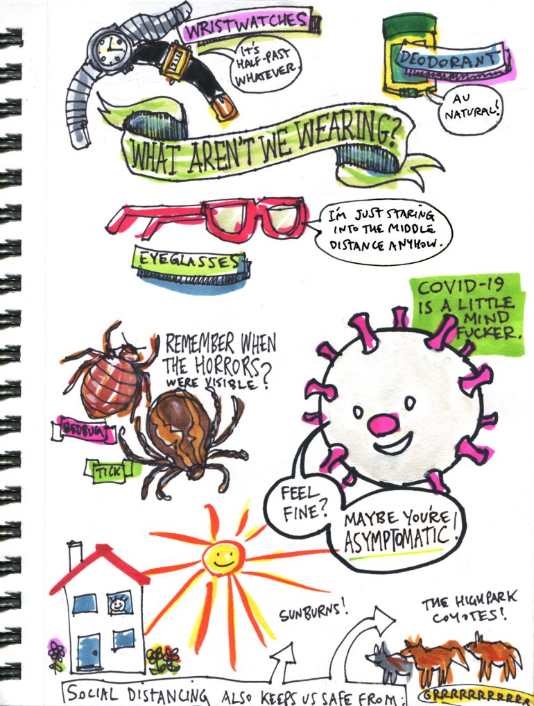 My Pandemic Diary page 34 what aren't we wearing, bedbug,tick, safety