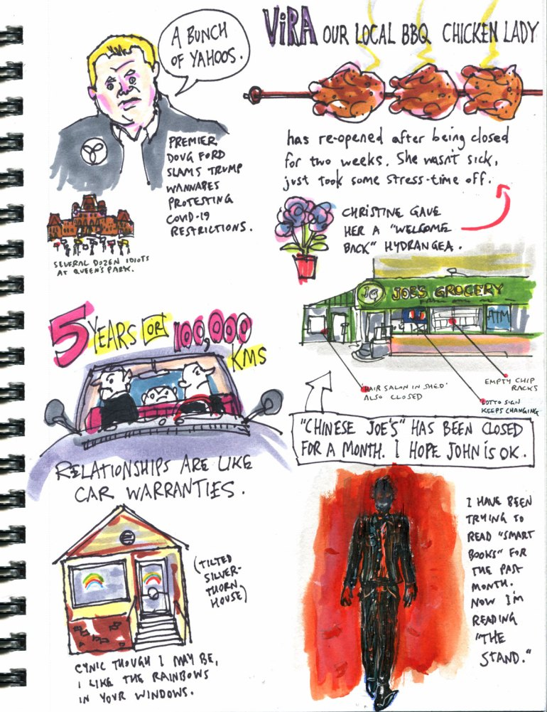 My Pandemic Library page 40 Doug Ford chickens businesses rainbows The Stand