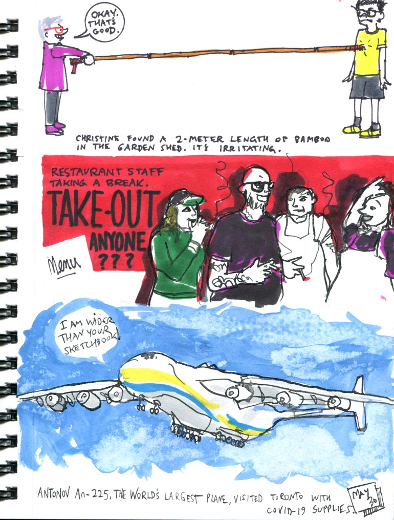 My Pandemic Diary page 51 6 foot stick, take out safety, antonov An-225