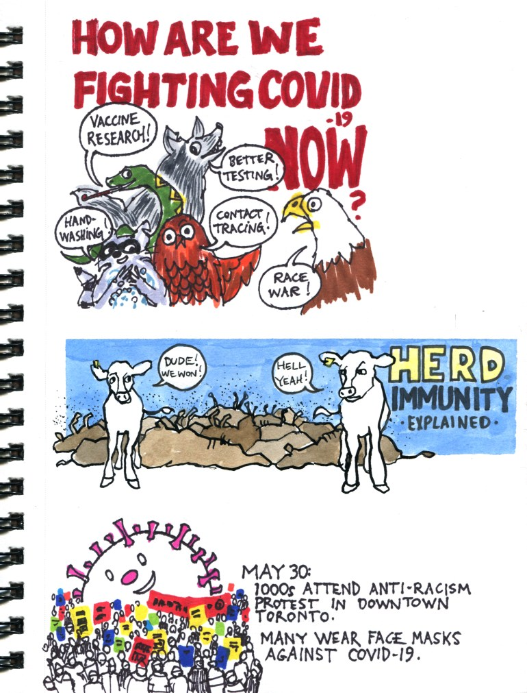 My Pandemic Diary page 52 cartoon animals fighting Covid-19, protest, herd immunity