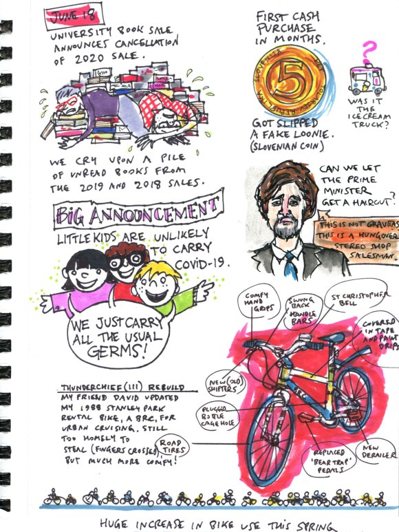 My Pandemic Diary page 59 book sales, Justin Trudeau, germs, children,bicycle, Slovenia