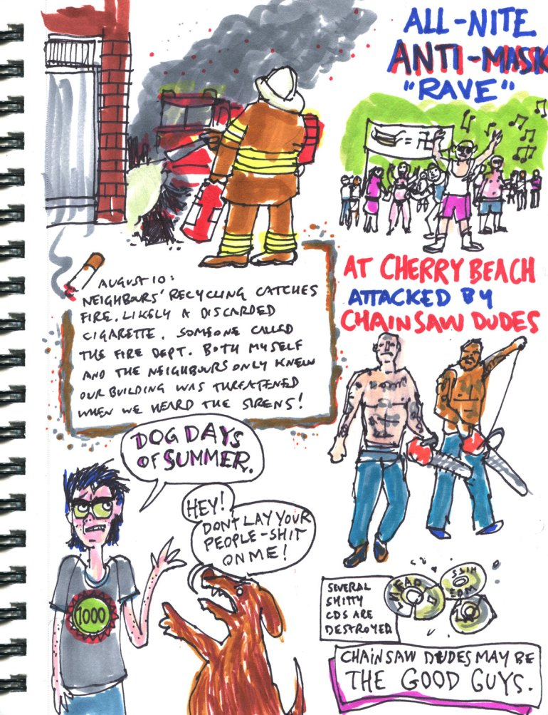 My Pandemic Diary 2 page 11 chainsaw dudes, angry dog, house fire