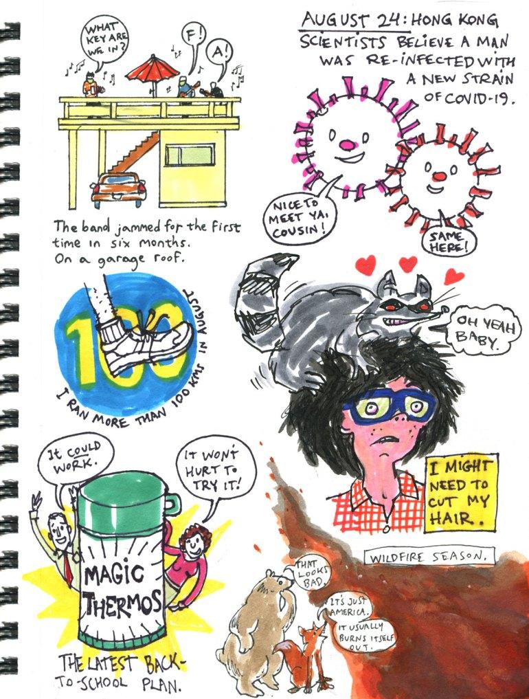 My Pandemic Diary 2 page 15 haircut, bush fire, magic thermos, jam band