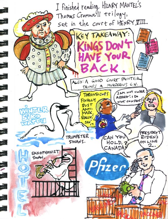 My Pandemic Diary 2, page 30 Hilary Mantel, Henry VIII, swans, anti-maskers, Pfizer