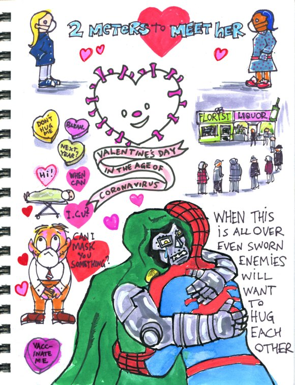 My Pandemic Diary 2, page 35, Valentines Day page