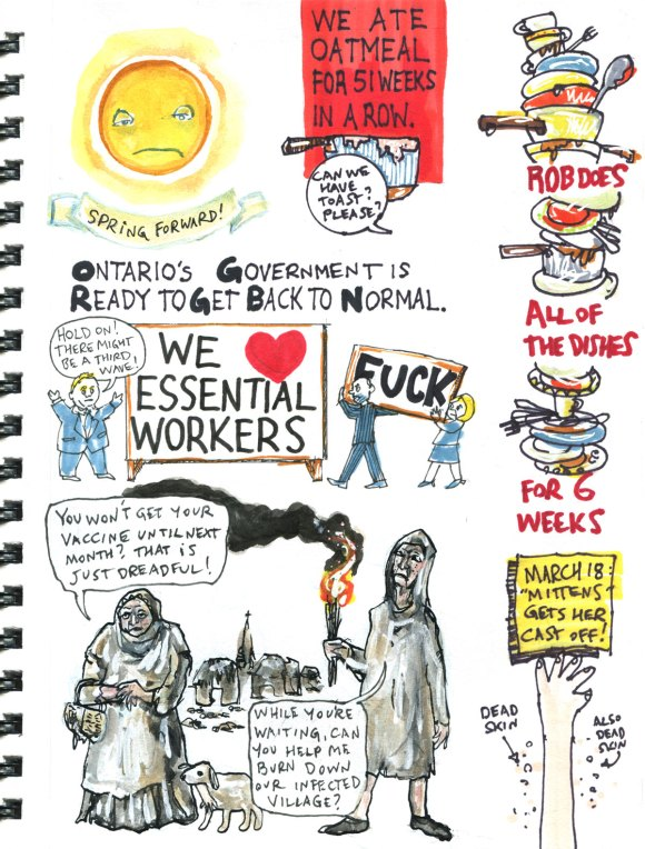 My Pandemic Diary 2 page 42 Doug Ford, broken wrist, peasants, vaccines