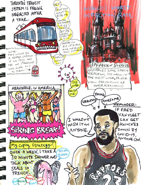 My Pandemic Diary 2 page 44 Spring Break, Czech Republic, Fred Van Vleet, TTC