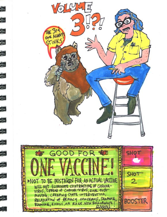 My Pandemic Diary part 1 Page 5 Ewok, intro, vaccine coupon