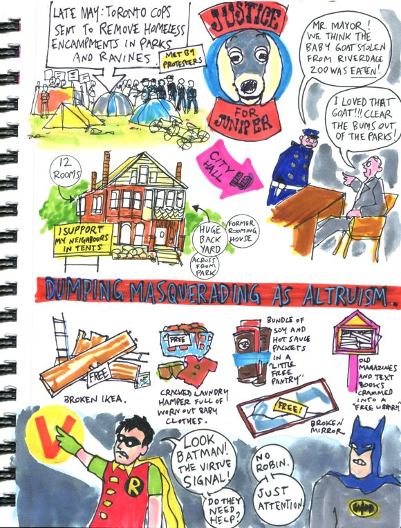 My Pandemic Diary part 3 Page 3 Juniper the goat, homeless clearout, dumping, virtue signal, batman