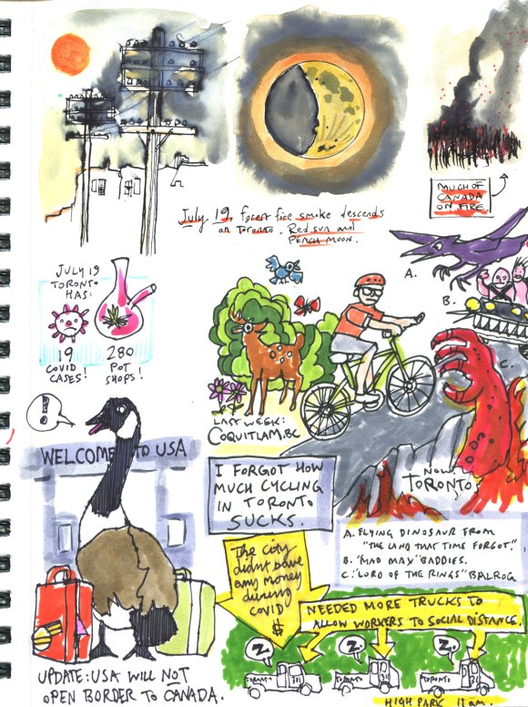 My Pandemic Diary part 3 Page 11 forest fires, border, cycling, city workers