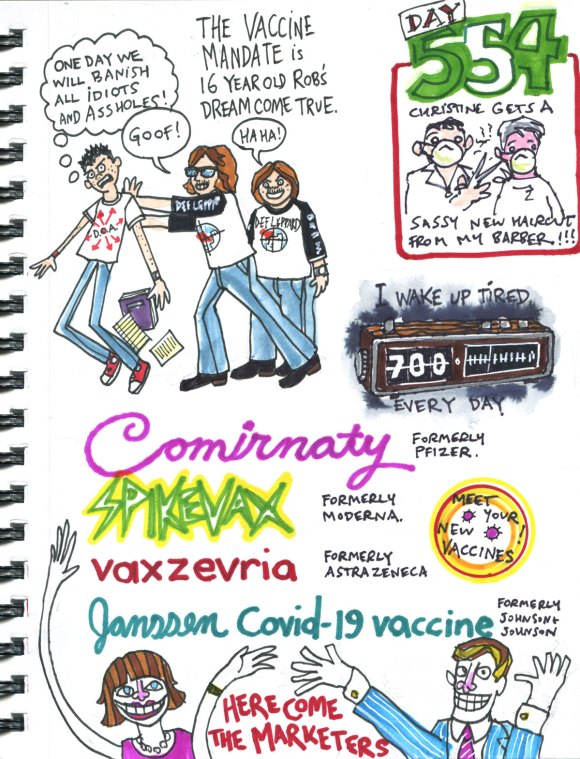 My Pandemic Diary part 3 Page 18 1980s bullies, new vax branding, haircut