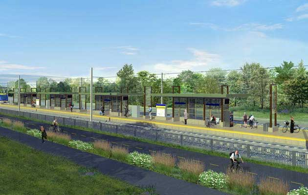 An illustration of the proposed West 21st Street Southwest LRT station between Cedar Lake and Lake of the Isles. Image courtesy of the Metropolitan Council