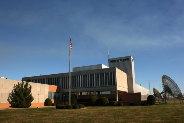 The Edward R. Murrow Transmitting Station's mail building, located in the center of the 2800 acres campus. (Click to enlarge)