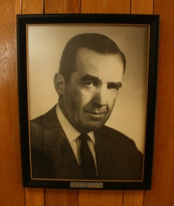 The photo of Edward R. Murrow is displayed prominently in the lobby of the transmitting station. (Click to enlarge)