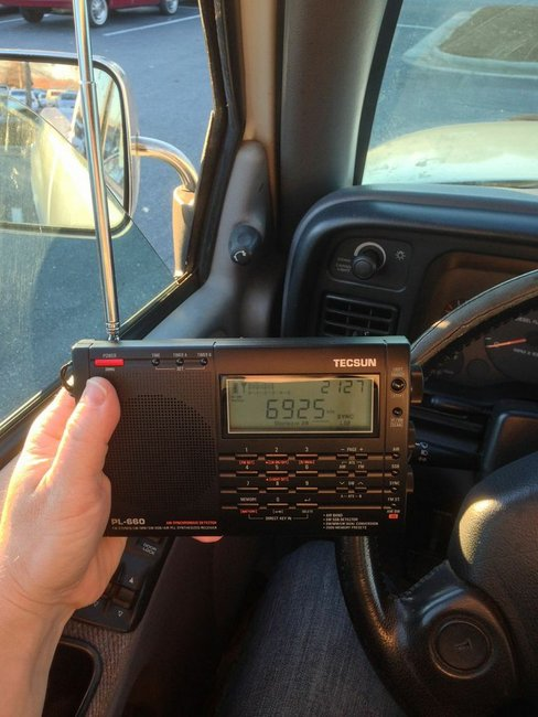 Listening to Channel Z in a parking lot with the Tecsun PL-660.