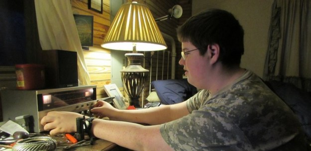 Landon's 15 year old son with his Realistic DX-160