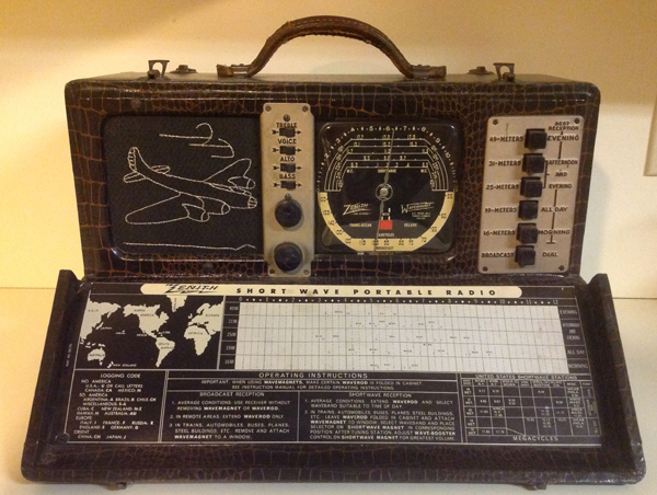 Zenith Model 7G605, the first in the line of Trans-Oceanic radios. Credit P. Litwinovich collection via WSHU