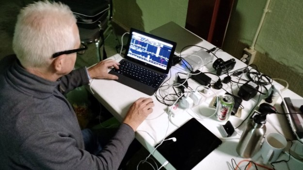 Mark Fahey, scanning the bands with his WinRadio Excalibur/Surface Pro 2 combo