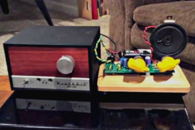 James adds an LM386 amplifier kit to his Heathkit GR-150 | The
