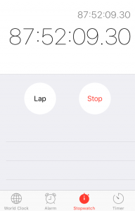 My iPhone stopwatch has been tracking the test.