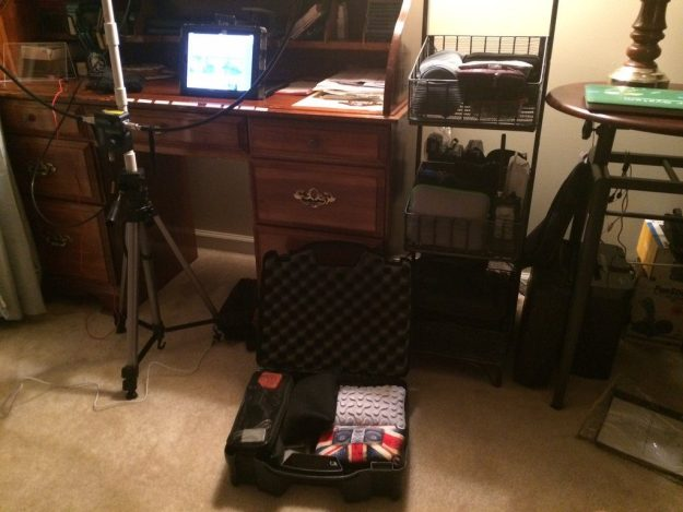 Typical set-up (the metal basket bin is completely filled with radios, antennae, adapters, etc., all in their own cases)
