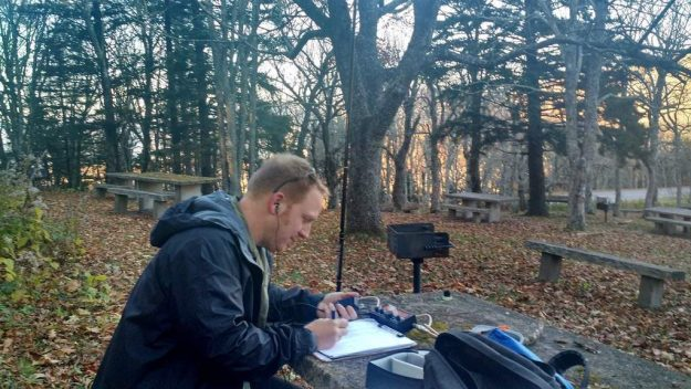 """Activating the Blue Ridge Parkway (PK01) with the Elecraft KX2 and """"Silver Tip"""" 20 meter vertical. An effective combo!"""