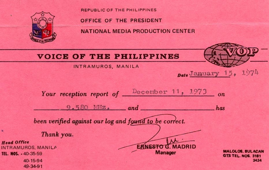 Radyo Pilipinas From 1973 | The SWLing Post