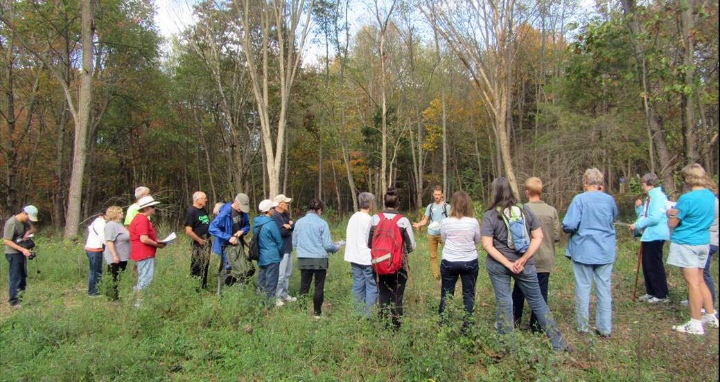 SWMLC's Stewardship Specialist, Mitch Lettow, gathers visitors before leading a guided hike through the big preserve.
