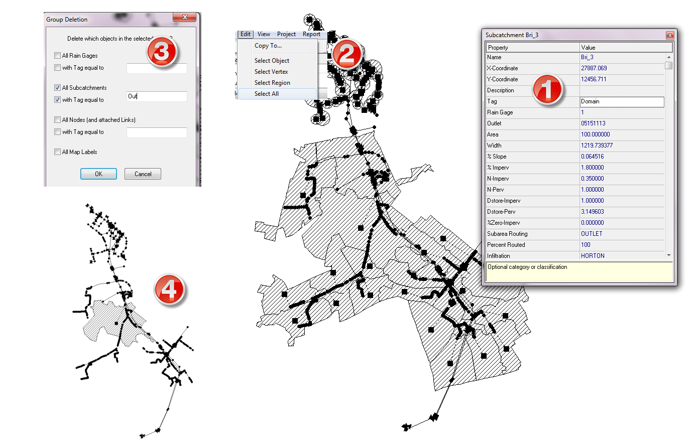 How to Use Group Delete to Make A Smaller Model in SWMM 5