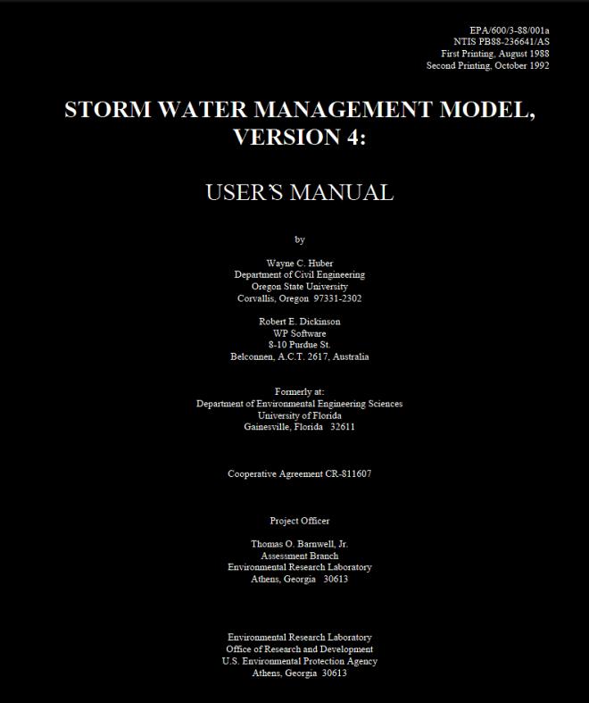 SWMM4 Manuals