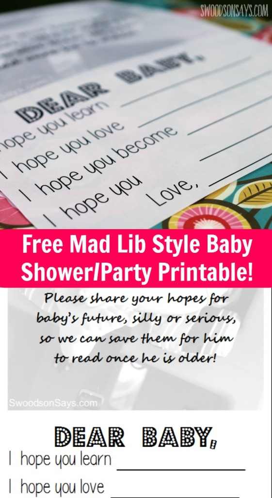 Free mad lib style printable! Perfect fun activity for a baby shower or baby birthday party.