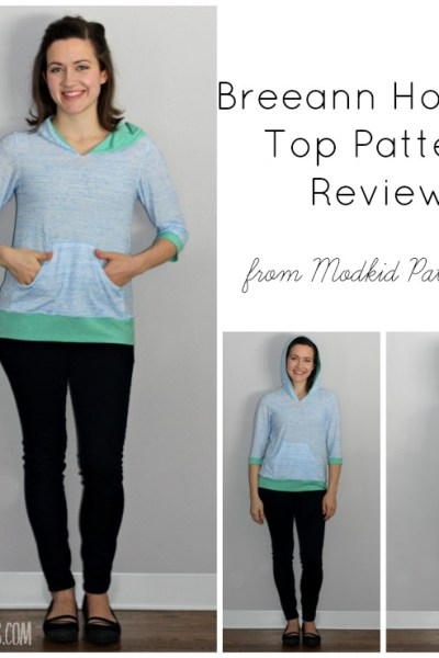 A PDF Pattern Review of the Breeann hooded top from Modkid Patterns.